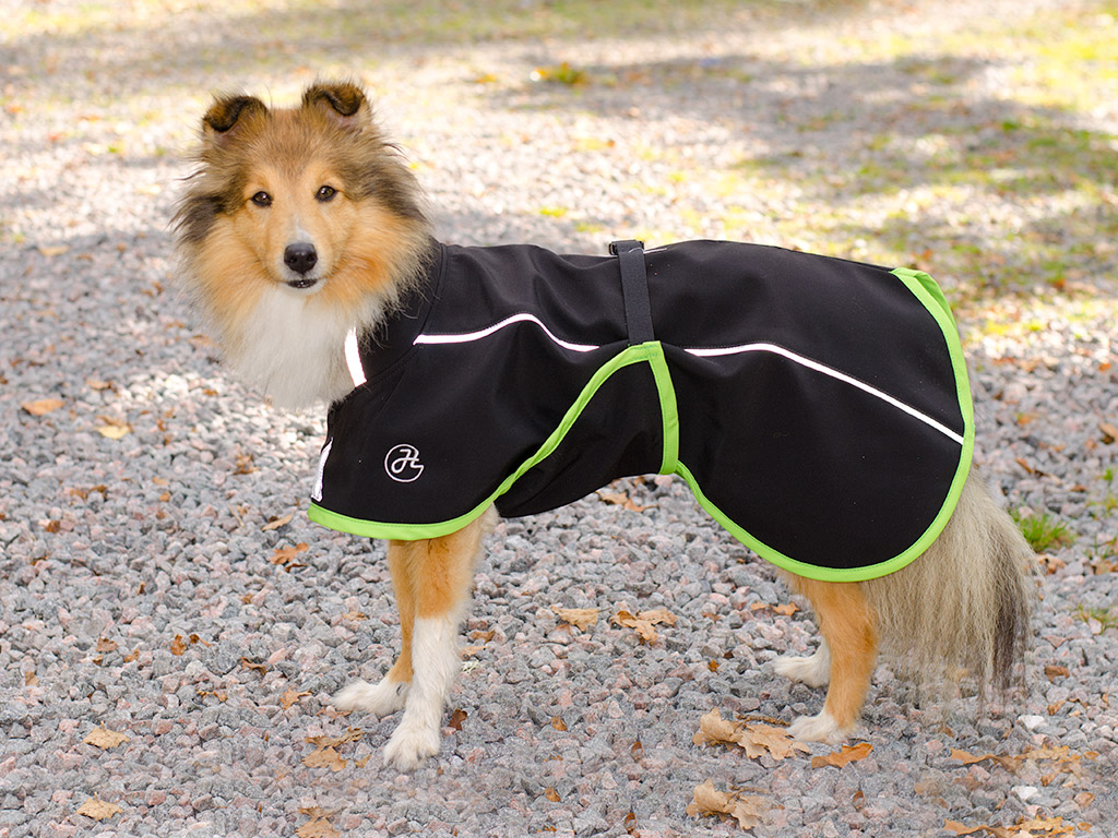 Regntåligt softshelltäcke till hund